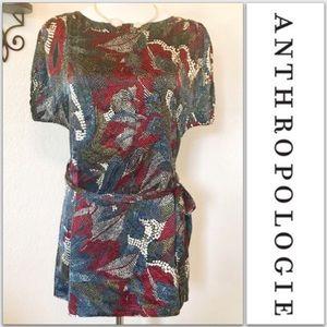 Anthropologie silk floral sash belt blouse